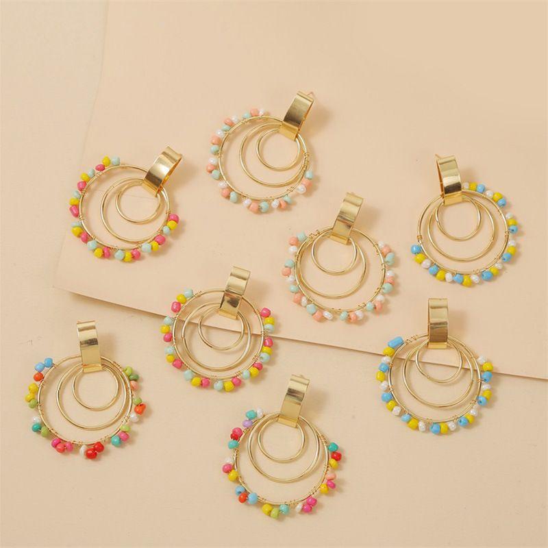 bohemian geometric round handmade rice bead earrings creative personality woven acrylic earrings jewelry wholesale nihaojewelry NHLA218167