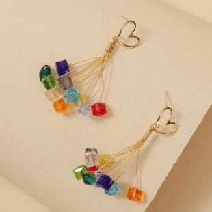 Simple and cute handmade crystal woven tassel earrings trend long personalized love earrings jewelry wholesale nihaojewelry NHLA218168's discount tags
