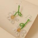 Gancho de plata pendientes de flores de cristal hechos a mano hipoalergnicos coreanos personalidad creativa tejida pendientes largos joyas al por mayor nihaojewelry NHLA218169