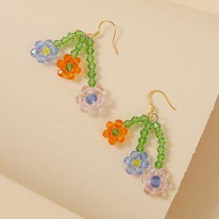 Korean hand-woven crystal rice beads flower earrings trend three flowers temperament earring jewelry wholesale nihaojewelry NHLA218170's discount tags
