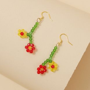 Korean cute hand-woven two flower crystal rice beads earrings trend creative simple earrings jewelry wholesale nihaojewelry NHLA218171's discount tags