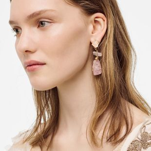 geometric stone imitation resin earrings girls earrings exaggerated long resin earrings jewelry wholesale nihaojewelry NHLA218175's discount tags