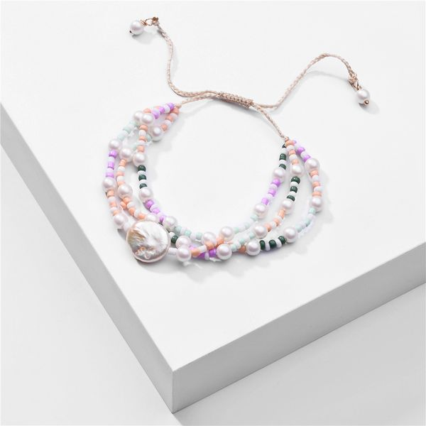 fashion women's bracelet nihaojewelry wholesale multi-layer summer natural freshwater pearl drawstring adjustable size multi-layer rice bead bracelet NHLU218193