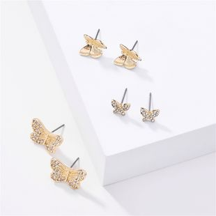 fashion big jewelry 3 pairs of butterfly rhinestone earrings set earrings wholesale nihaojewelry NHLU218195's discount tags