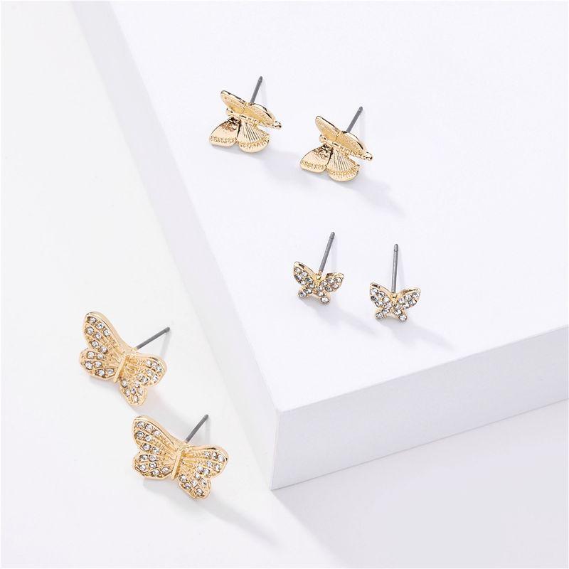 fashion big jewelry 3 pairs of butterfly rhinestone earrings set earrings wholesale nihaojewelry NHLU218195
