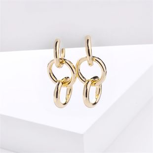 fashion big jewelry simple metal wind circle chain earrings wholesale nihaojewelry NHLU218197's discount tags
