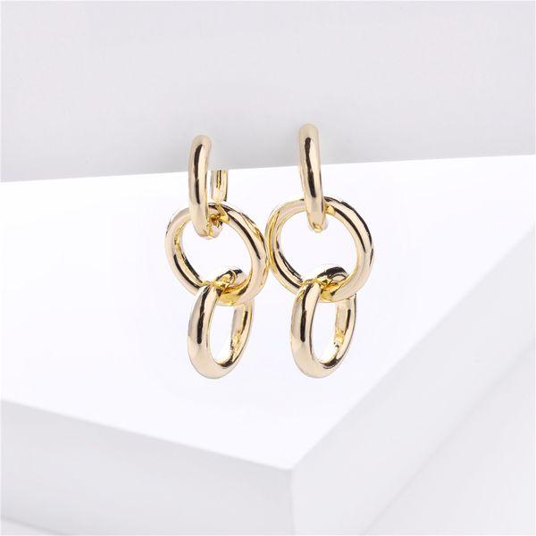 fashion big jewelry simple metal wind circle chain earrings wholesale nihaojewelry NHLU218197