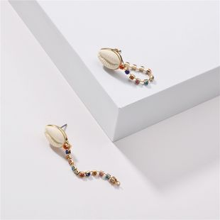 fashion jewelry rainbow multicolor rhinestone gemstone chain front and rear earrings shell earrings wholesale nihaojewelry NHLU218209's discount tags