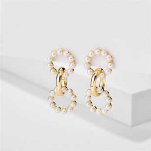 fashion pearl exaggerated simple pearl metal circle earrings wholesale nihaojewelry NHLU218215's discount tags