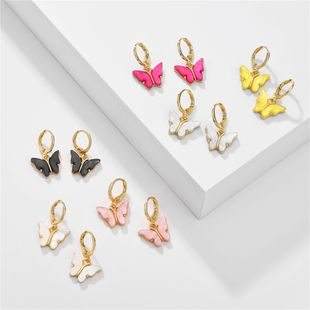 big jewelry summer candy color acrylic butterfly earrings copper ear hooks  wholesale nihaojewelry NHLU218221's discount tags