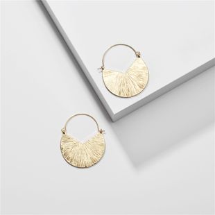 Jewelry big fan-shaped alloy brushed surface earrings women's earrings exaggerated earrings new wholesale nihaojewelry  NHLU218225's discount tags