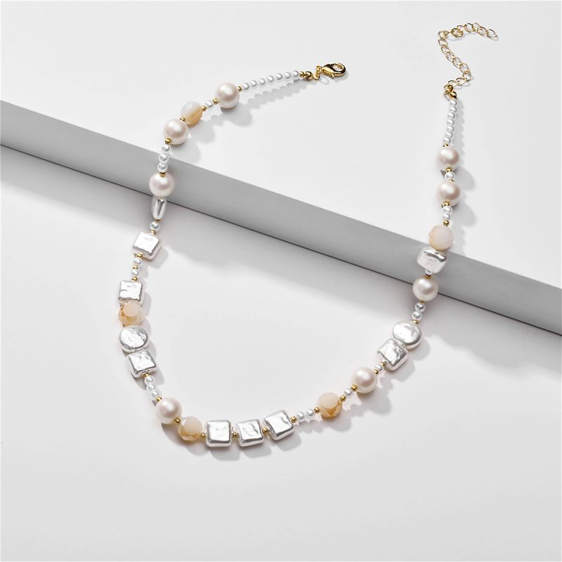 fashion pearl necklace nihaojewelry wholesale glass crystal baroque pearl short exquisite necklace  NHLU218229