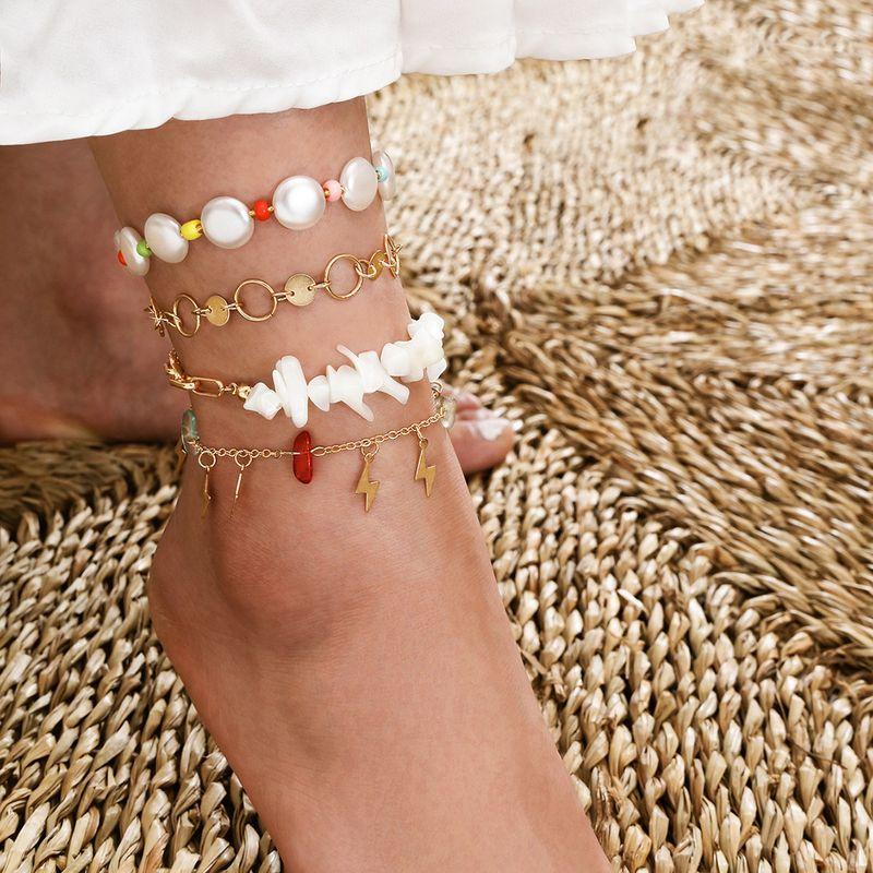 Summer beach pearl disc anklet natural gravel flash lightening tassel handmade footwear multi-layer four-piece suit anklet NHPV218236