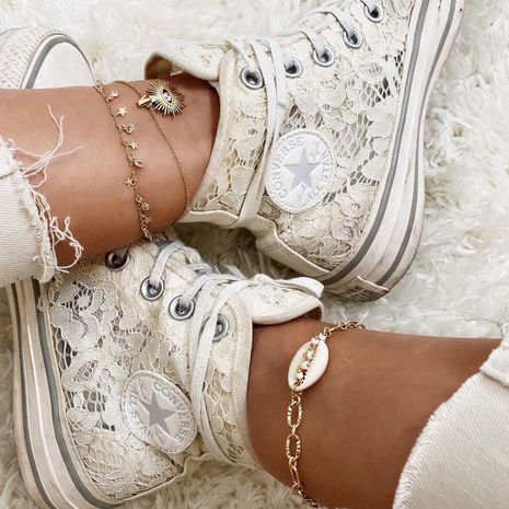 fashion eyes devil's eyes shell rice beads anklet stars five-pointed star zircon tassel foot ornaments multi-layer three-piece anklet NHPV218244's discount tags