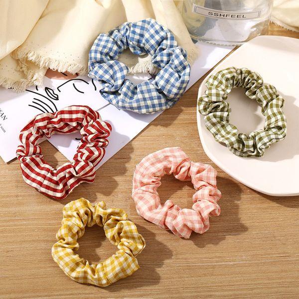 Korean fresh lattice large intestine ring hair scrunchies French retro head flower tie hair rope ponytail headdress wholesale nihaojewelry NHPJ218260