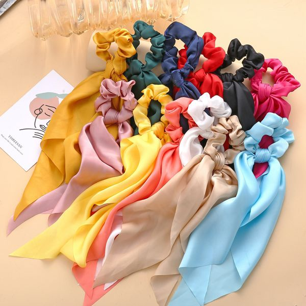 Knotted Ribbon hair scrunchies Satin Large Intestine Circle Monochrome Silky Scarf Hair Tie Lady Ponytail wholesale nihaojewelry NHPJ218261