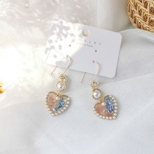 Korean fashion cute fresh earrings summer pink blue contrast color love pearl ear hook  girl  earrings wholesale nihaojewelry NHMS218287's discount tags
