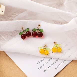 Korean sweet small cherry shape earrings girl temperament personality wild short earrings summer fruit earrings nihaojewelry wholesale  NHMS218305's discount tags