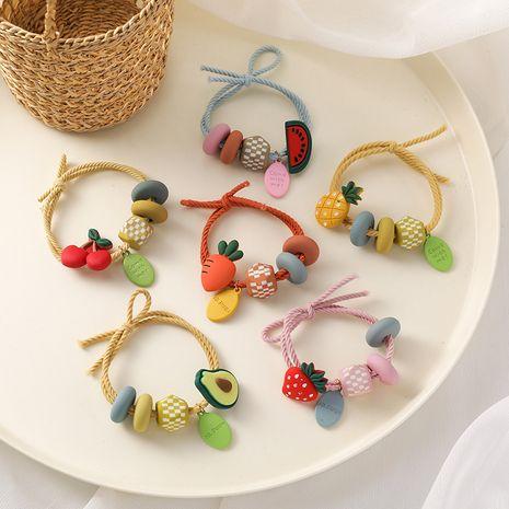 Cheveux coréens chouchous en gros fruits couleur perles cheveux corde mignonne fille coeur cravate anneau de cheveux bande de caoutchouc haute élasticité audacieux coiffure NHMS218307's discount tags