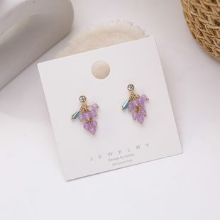Purple grape bunch earrings sweet temperament fruit earrings small and cute creative earrings 925 silver needle earrings female NHMS218322's discount tags