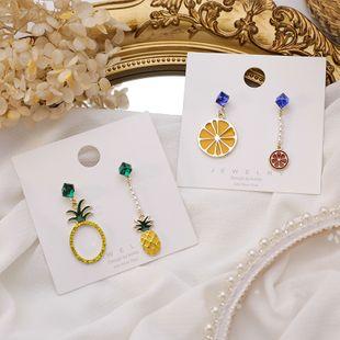 Korean 925 silver needle earrings new tide crystal box pearl fruit pineapple orange AB version asymmetric earrings  NHMS218326's discount tags