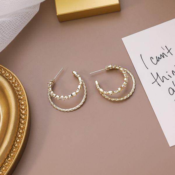 925 silver double-layer C-shaped earrings semi-circular micro-set zircon earrings simple  earrings nihaojewelry wholesale NHMS218334