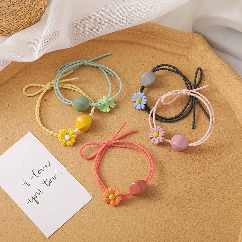 Small daisy ball head rope childrens hair rope little girl hair ring headdress girl rubber band high elasticity durable hair accessories NHMS218335