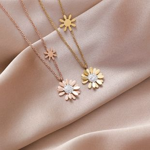 Small daisy titanium steel necklace  nihaojewelry wholesale clavicle chain cold wind niche jewelry simple temperament necklace NHMS218336's discount tags