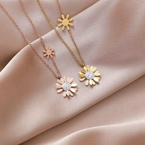 Petite marguerite collier en acier au titane nihaojewelry gros chaîne de clavicule vent froid niche bijoux simple tempérament collier NHMS218336's discount tags