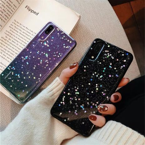 Simple bright black glitter powder phone case for Huawei P20pro protective cover all-inclusive soft silicone shell mate20  phone case wholesale NHFI218534's discount tags