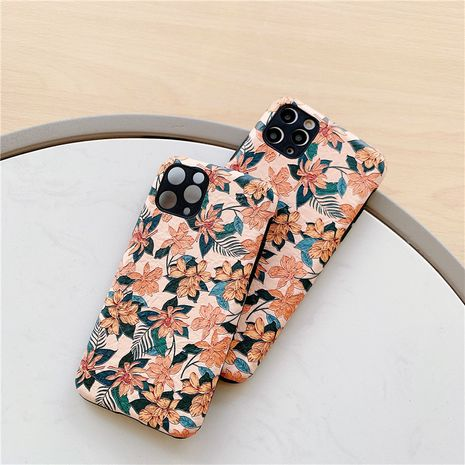 Retro maple leaf suitable for Apple 11pro mobile phone shell iPhoneXSMax silk pattern soft shell 7 8plus all inclusive phone case NHFI218536's discount tags