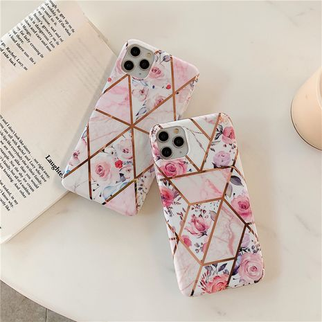 Apple 11 Pro max simple retro pink flower mobile phone soft shell suitable for apple xs 7 8plus marble shell phone case wholesale NHFI218560's discount tags