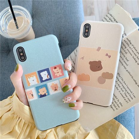 Cartoon bear 8plus silk pattern mobile phone shell Apple 11 ProMax soft shell suitable for Huawei mae30 pro phone case wholesale NHFI218561's discount tags
