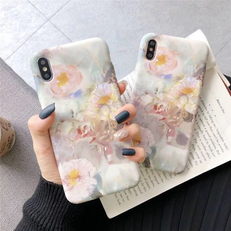 Oil painting Chrysanthemum Apple 11 Promax 8plus mobile phone shell suitable for iPhonexs XR water sticker soft phone case wholesale NHFI218566's discount tags