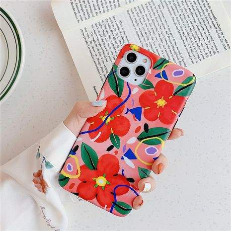 Retro oil painting flowers apple pro max mobile phone protective cover for apple xs XR creative anti-fall shell couple phone case wholesale NHFI218573's discount tags