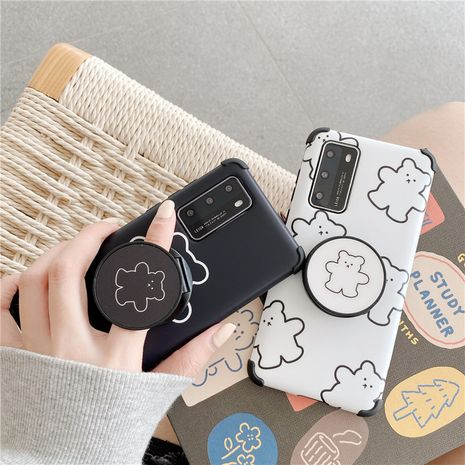 Cute cartoon bear bracket cover for iPhone11pro mobile phone shell silicone Huawei P40pro XR phone case wholesale NHFI218574's discount tags