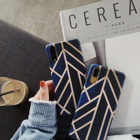 Literary dark blue cutting wind mobile phone case Huawei P30 pro all-inclusive Mate20pro couple all-inclusive soft phone case wholesale NHFI218590's discount tags
