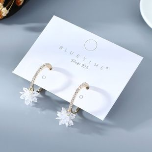 Korean fashion new  gold-plated simple niche  popular  creative snow cherry S925 silver needle  copper earrings wholesale  NHPS218605's discount tags