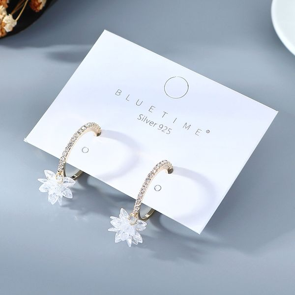 Korean fashion new  gold-plated simple niche  popular  creative snow cherry S925 silver needle  copper earrings wholesale  NHPS218605