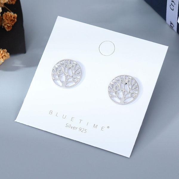 korean fashion new simple style   popular simple happiness tree S925 silver needle earrings wholesale NHPS218610