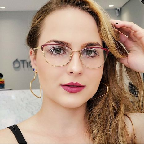 New cat eye frame mirror spring metal leg flat mirror can be equipped with anti-blue light glasses frame  wholesale nihaojewelry NHFY218362's discount tags