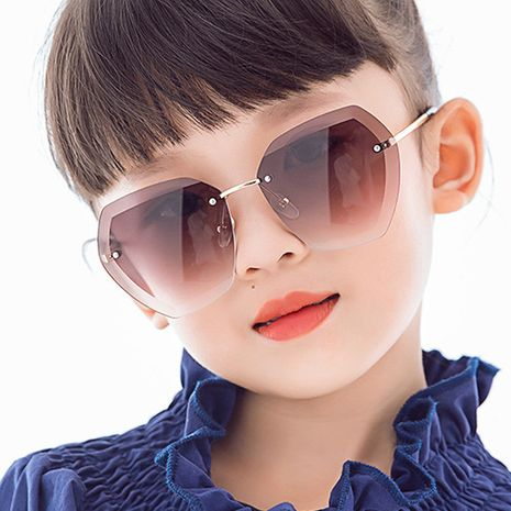 New cut-edge frameless polygonal children's sunglasses irregular new fashion colorful boys and girls sunglasses  wholesale nihaojewelry NHKD218398's discount tags
