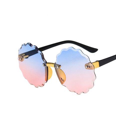Gafas de sol redondas de flores para niños, monturas sin marco, nuevas gafas de sol coloridas para niños y niñas de moda NHKD218399's discount tags