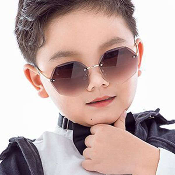 Children's sunglasses frameless trimmed polygon new Korean fashion men and women decorative sunglasses fashion cute baby NHKD218411