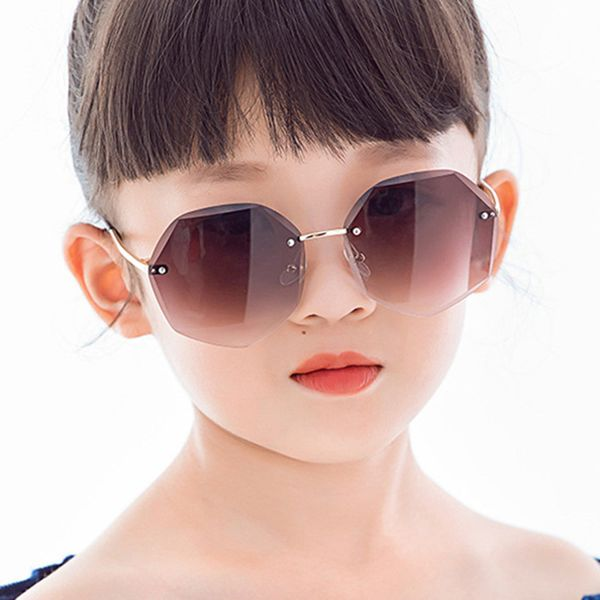 Trimmed children's sunglasses irregular new marine film polygon boys and girls frameless fashion sunglasses  wholesale nihaojewelry NHKD218412