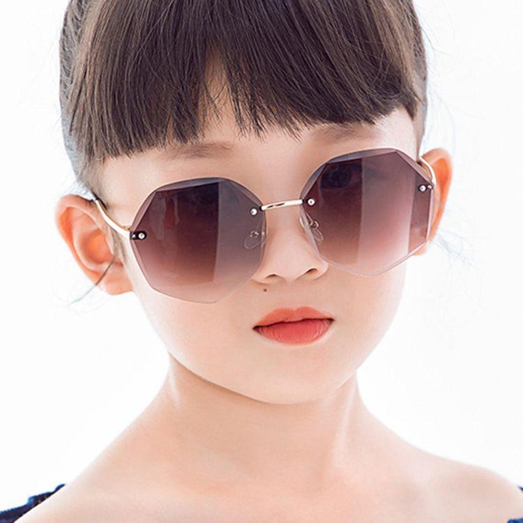 Trimmed children's sunglasses irregular new marine film polygon boys and girls frameless fashion sunglasses  wholesale nihaojewelry NHKD218412