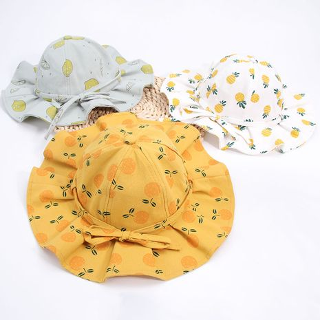 summer new children's fruit bow fisherman hat nihaojewelry wholesale Korean small fresh cute basin hat baby sun hat NHXB218430's discount tags