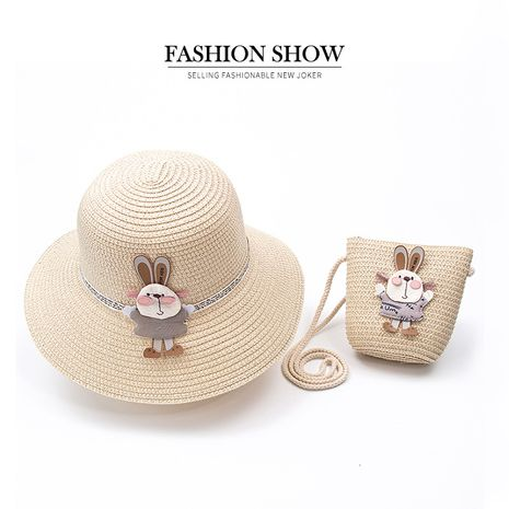 new straw hat shoulder bag set nihaojewelry wholesale small fresh children cute hat bag summer girl travel match NHXB218432's discount tags
