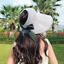 new knitted empty top hat summer shade bow big brim hat shade straw hat personality wild wholesale nihaojewelry NHXB218433