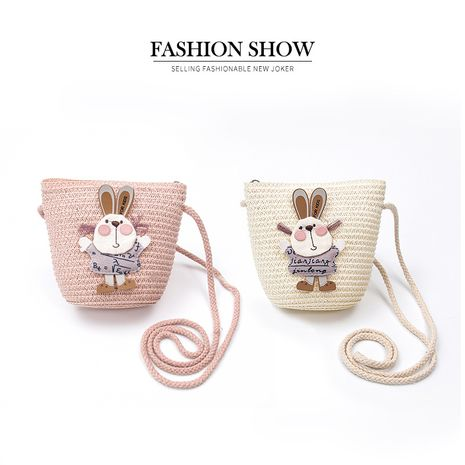 new straw woven bag nihaojewelry wholesale small fresh children's cute straw shoulder bag summer girl travel straw hat bag NHXB218440's discount tags
